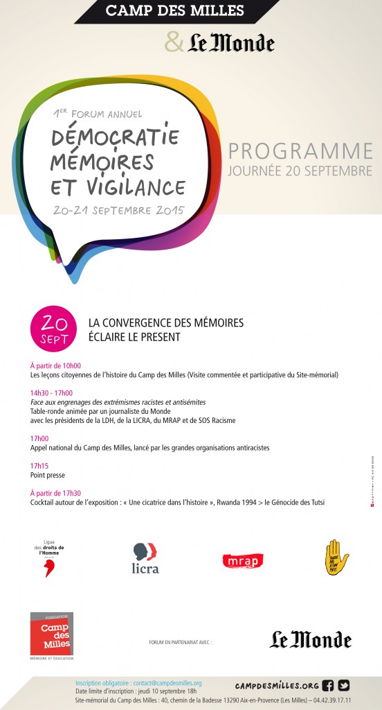 Blog Forum annuel Démocratie, mémoires et vigilance Programme 20 septembre (2)