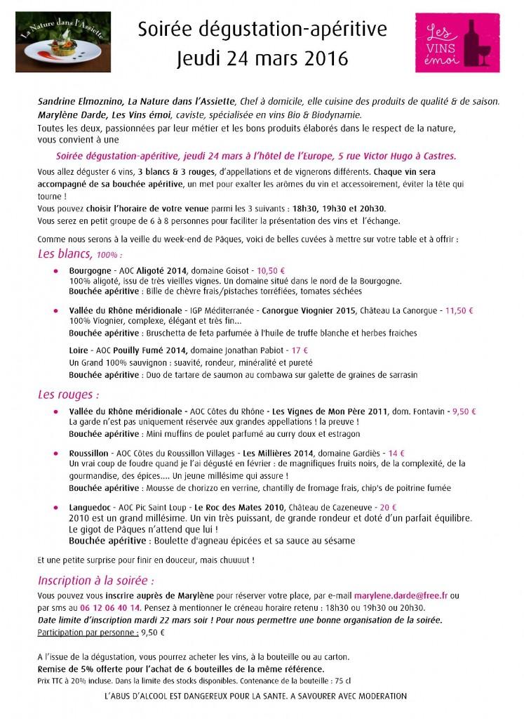 Blog Soirée dégustation, jeudi 24 mars